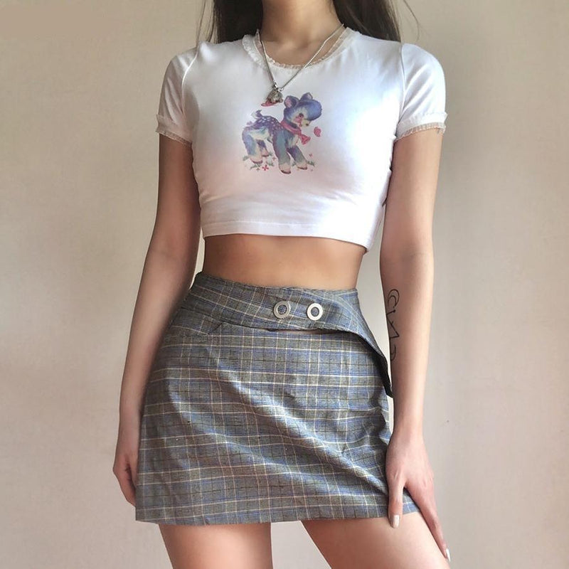 Vintage Deer Crop Top - 1970s, 70s, baby deer, crop top, cropped