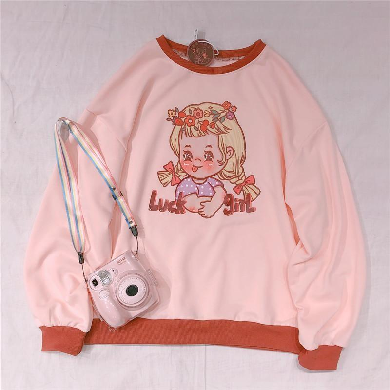 Vintage Lucky Girl Crewneck - 1970s, 70s, crewneck, crewneck sweater, crewnecks