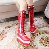 Sexy Lolita Red Wedge Platform Boots Knee High Shoes Lace Up Kawaii Edgy