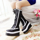 Sexy Lolita Black Wedge Platform Boots Knee High Shoes Lace Up Kawaii Edgy