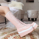 Sexy Lolita Pink Wedge Platform Boots Knee High Shoes Lace Up Kawaii Edgy