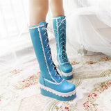 Sexy Lolita Blue Wedge Platform Boots Knee High Shoes Lace Up Kawaii Edgy