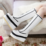 Sexy Lolita White Wedge Platform Boots Knee High Shoes Lace Up Kawaii Edgy
