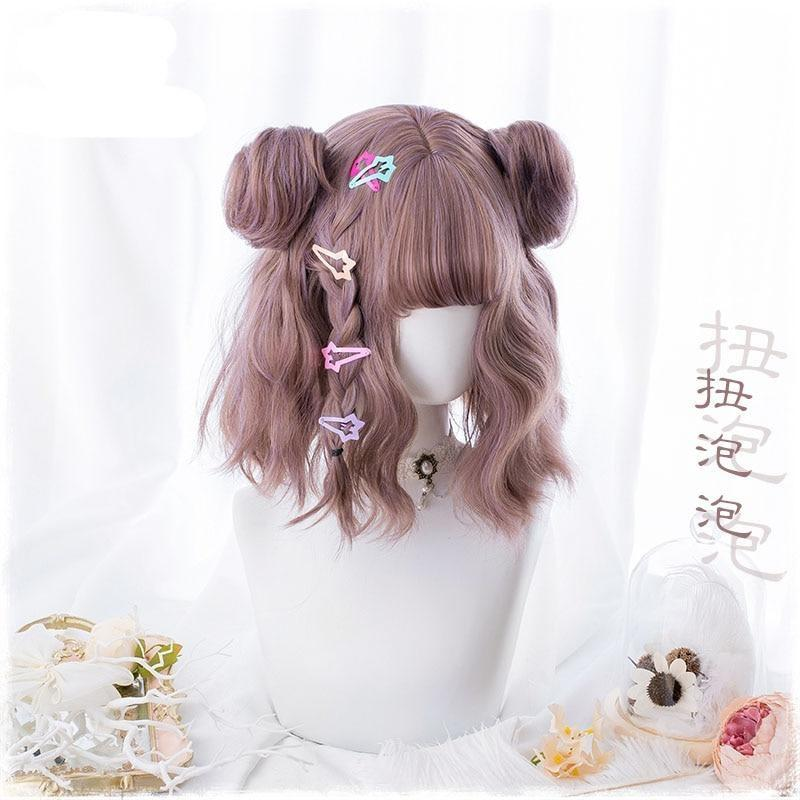 Purple Brown Pigtail Bun Cosplay Wig Kanekalon Fibre Cute Harajuku Kawaii Fashion