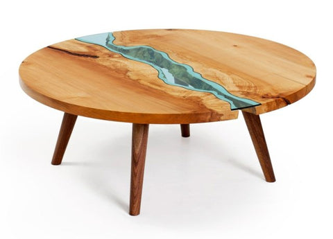 Teakwood - Round Cocktail Table#04-Light Green Glass