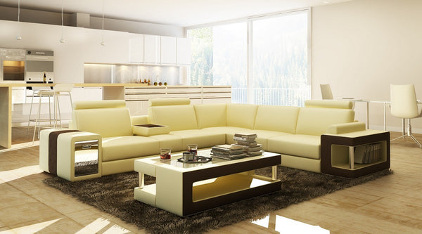 Beige and Brown Leather Sectional Sofa with Coffee Table