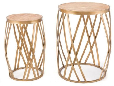 Criss Cross Set Of 2 Tables Gold