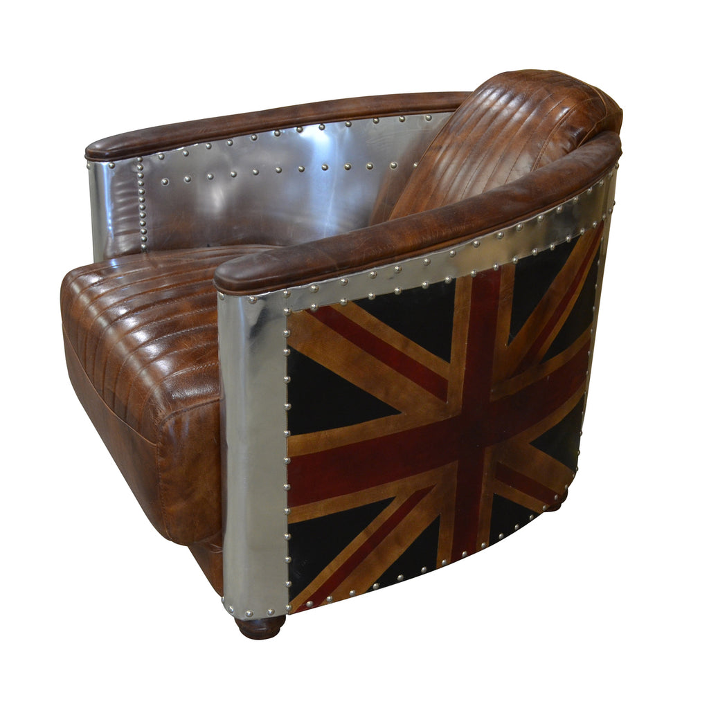 British Leather & Aluminum Chair