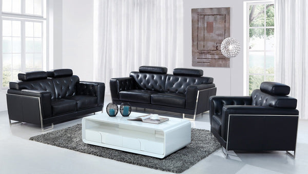Modern Black Leather 3 Piece Sofa Set with Headrests