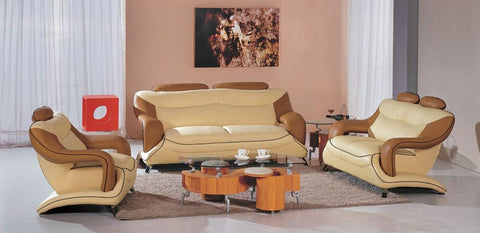 Modern Beige and Brown Leather Sofa Set