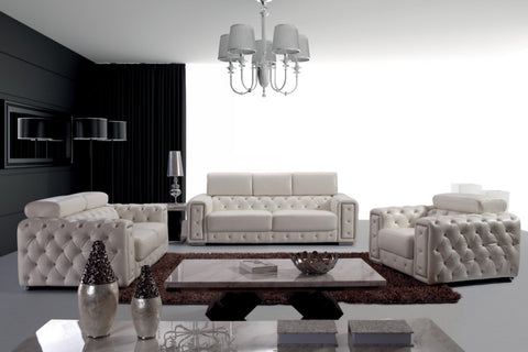 Modern Tufted Leather Sofa Set with Crystals