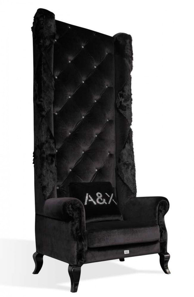 Black Velvet High Chair