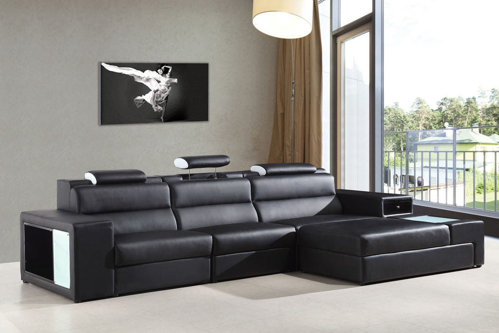 Mini Leather Sectional Sofa with Light, Bookcase, Storage, and Beverage Holder