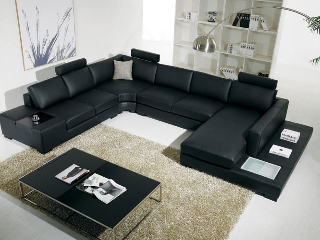 Leather Sectional Sofa with Light