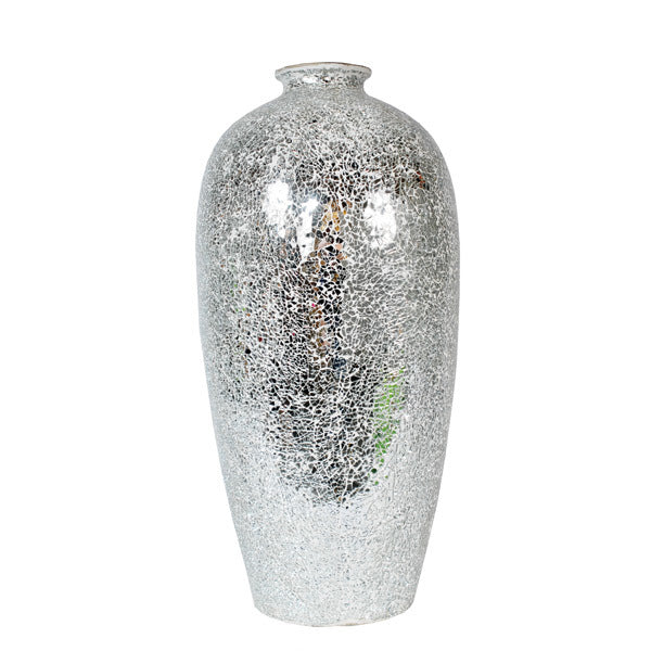 Large Silver Mosaic Cracked Vase
