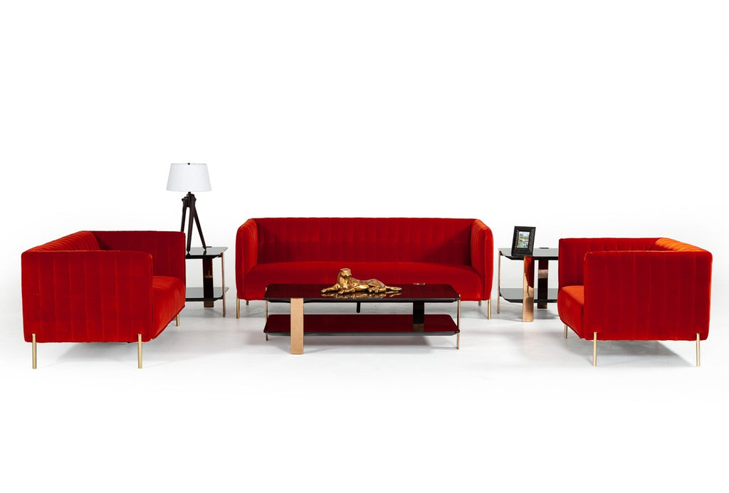 Modern Red Orange Velvet Sofa Set