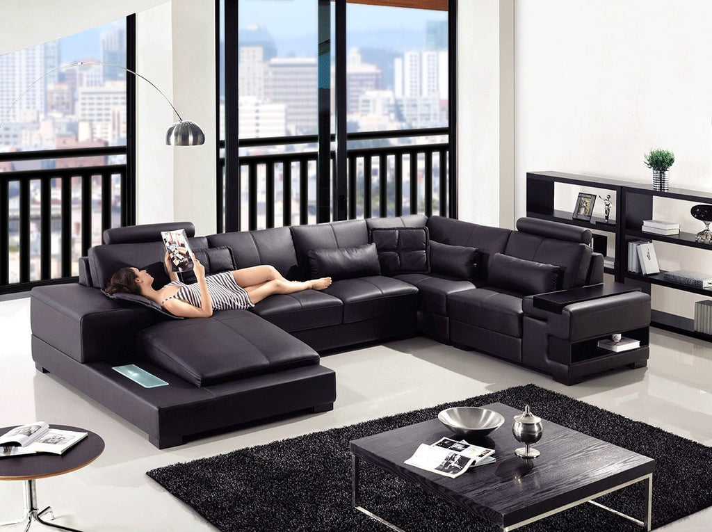 Modern Black Leather  Sectional Sofa with Light