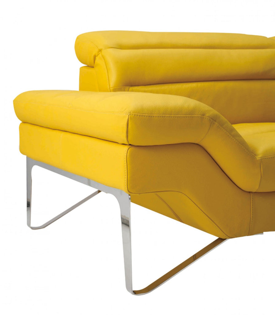 Modern Yellow Leather Sectional Sofa