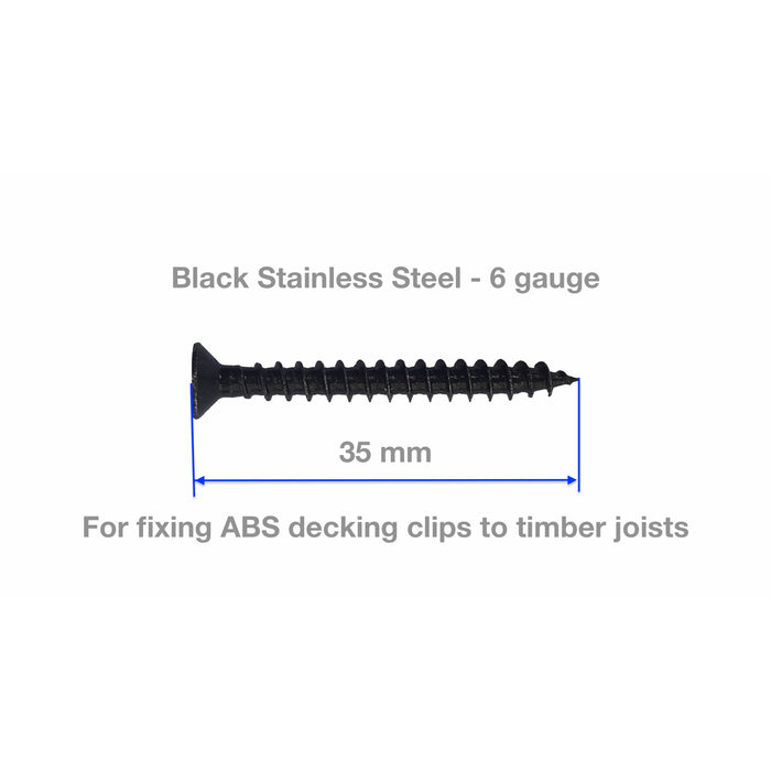 Screw for Timber Deck - Pack of 10 - black, stainless steel for clips