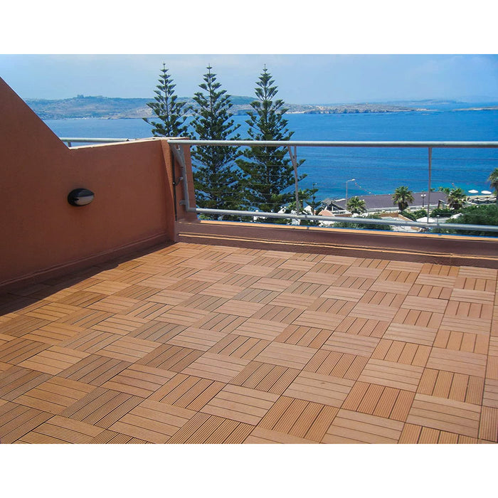 Premium Decking Tile TEAK (New) - Price/ Box of 11 Tiles = 1 sqm