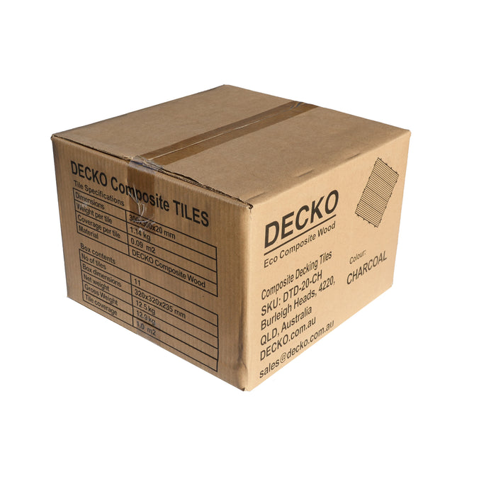 Premium Decking Tile CHARCOAL (New) - Price/box of 11 tiles = 1 sqm