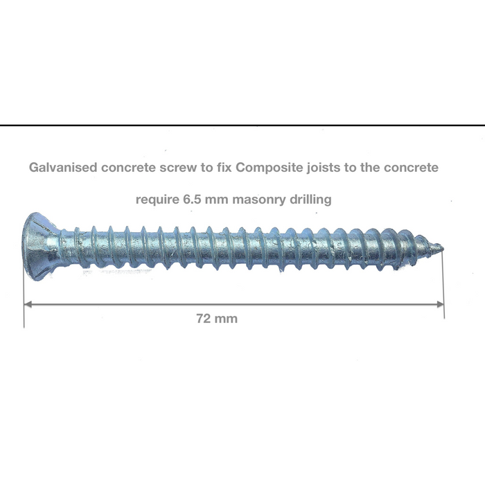Joist to Concrete Screws Galvanised 72mm (price/screw)
