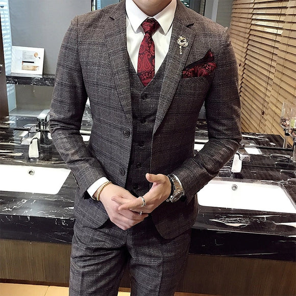 Men's Plaid 3 pieces Business Custom Made Suit