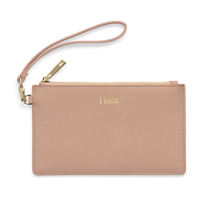 Medium Leather Clutch - Taupe