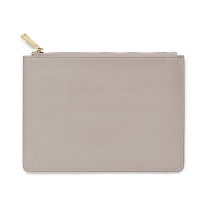 Large Saffiano Leather Clutch - Grey