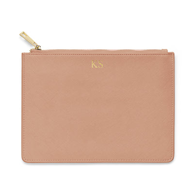Large Saffiano Leather Clutch - Taupe