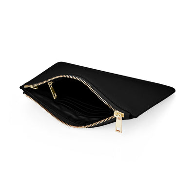 Large Smooth Leather Clutch - Black