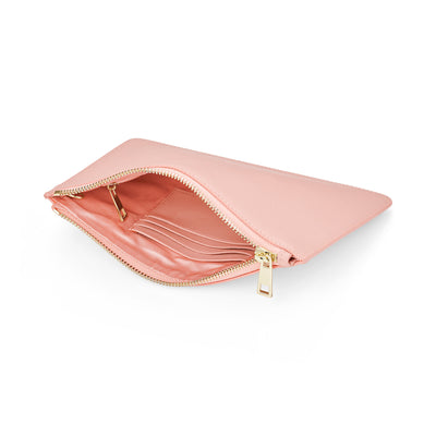 Large Smooth Leather Clutch - Pale Pink
