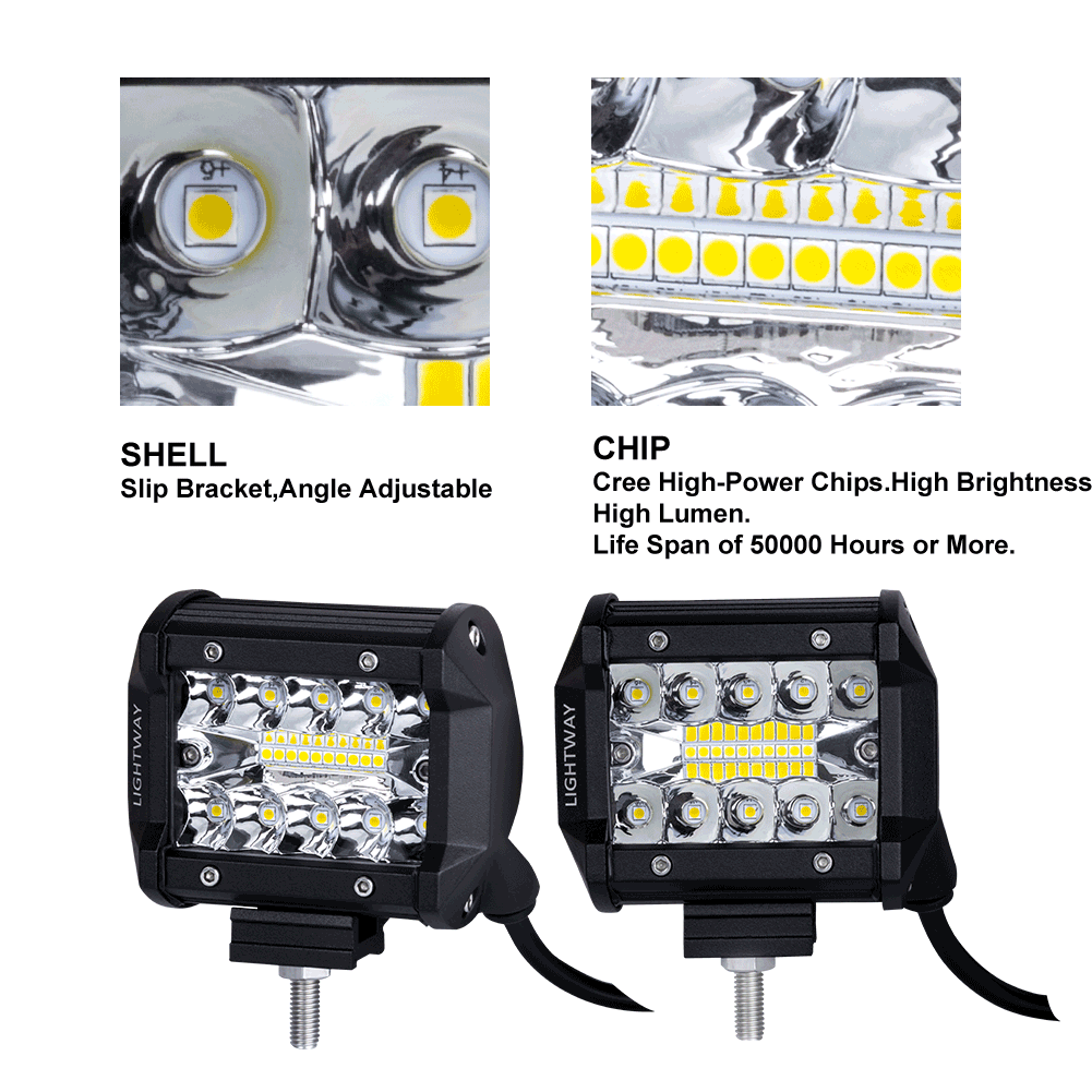 2x 4 inch CREE LED Work Light Bar Spot Flood OffRoad Driving 4WD 4x4 Reverse | Retail Discount