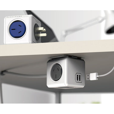 Allocacoc PowerCube Extended USB Powerboard 4-Outlets 2 USB Ports Grey-White 1.5m - Retail Discount
