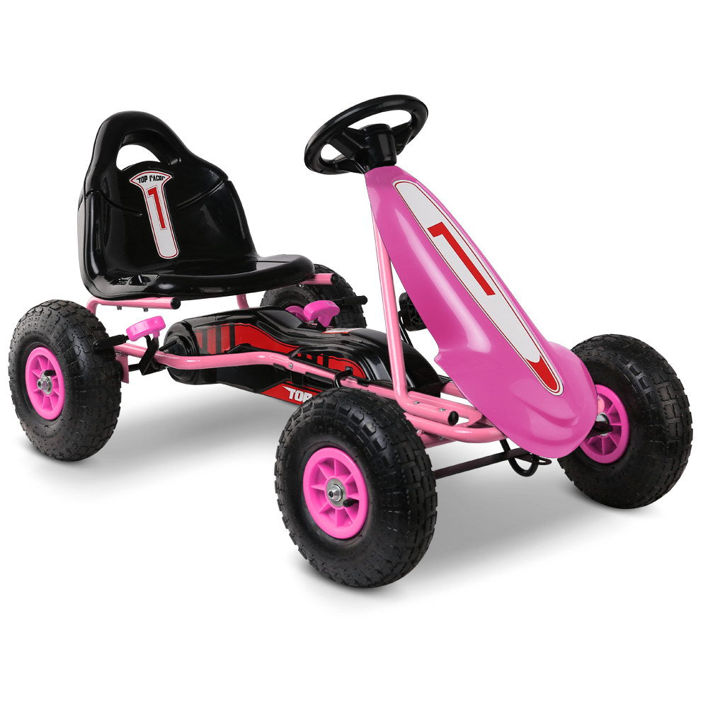 Kids Pedal Powered Go Kart - Pink
