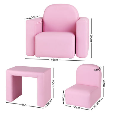 Kids Covertible Armchair - Pink
