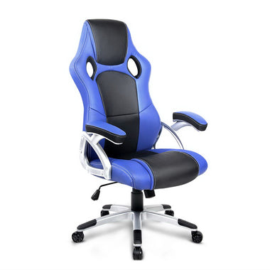 PU Leather Padded Office Computer Chair - Blue