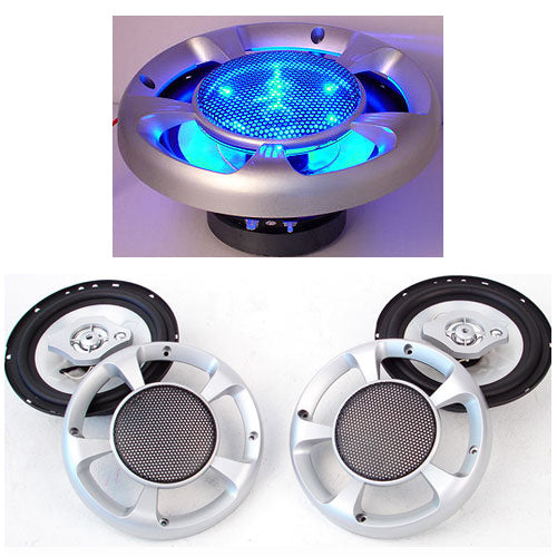 Set of 2 MaxTurbo Car Speakers w/ LED Light 500w | Retail Discount