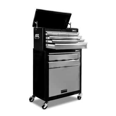 8-Drawer Tool Trolley Black and Grey