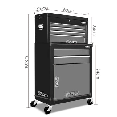 8 Drawer Mechanic Tool Box Trolley - Black & Grey | Retail Discount