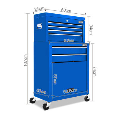 8 Drawer Mechanic Tool Box Trolley - Blue | Retail Discount