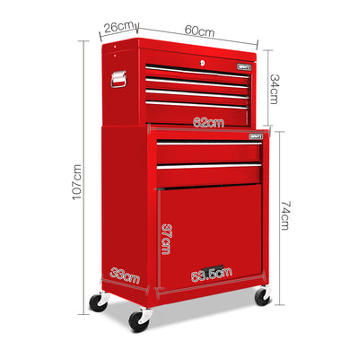 8 Drawer Mechanic Tool Box Trolley - Red | Retail Discount