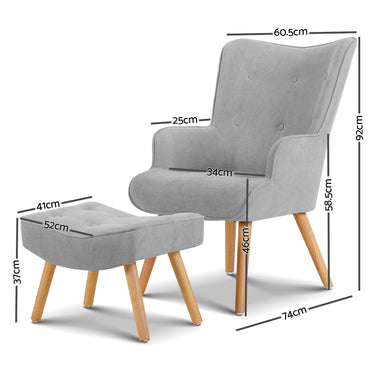 Armchair and Ottoman - Light Grey