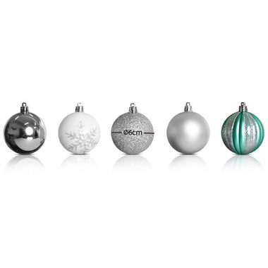 Jingle Jollys 50pcs Christmas Baubles - Silver