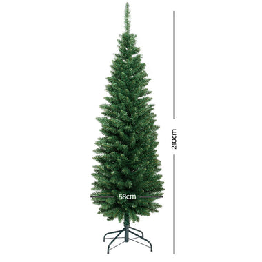Jingle Jollys 7FT Slim Christmas Tree - Green