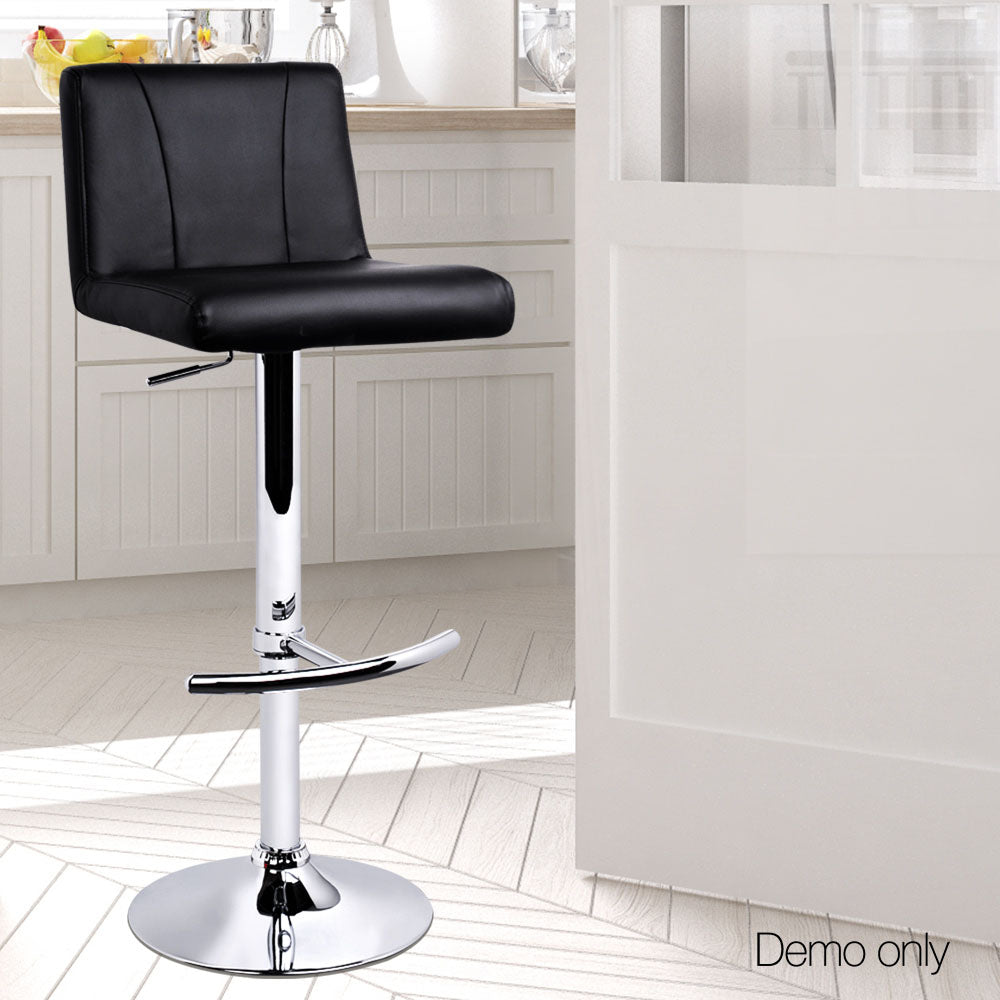 Set of 2 PU Leather Kitchen Bar Stool Black | Retail Discount