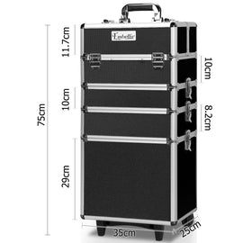7 in 1 Portable Beauty Make up Cosmetic Trolley Case Black - Retail Discount