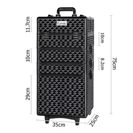 7 in 1 Portable Beauty Make up Cosmetic Trolley Case Diamond Black - Retail Discount