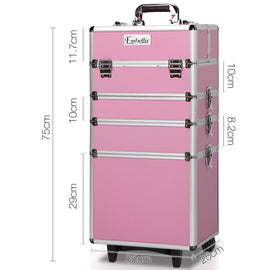 7 in 1 Portable Beauty Make up Cosmetic Trolley Case Pink - Retail Discount