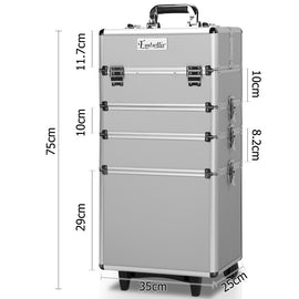 7 in 1 Portable Beauty Make up Cosmetic Trolley Case Silver - Retail Discount